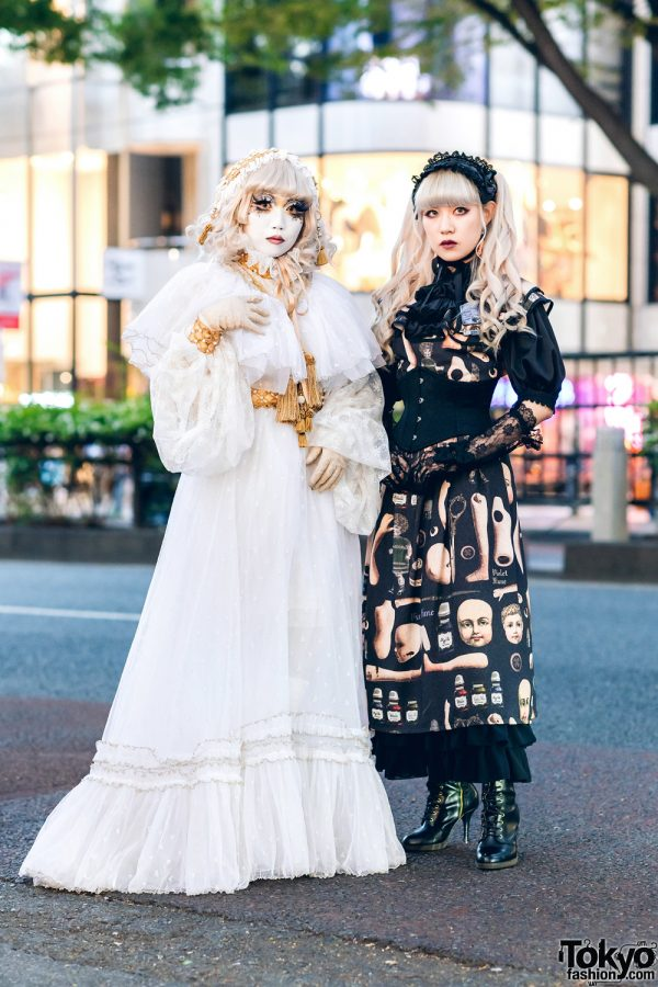 Japanese Shironuri & Lolita Street Fashion in Harajuku w/ Feather Eyelashes, Lace Headdress, Violet Fane, Abilletage, Baby The Stars Shine Bright & Remake Fashion