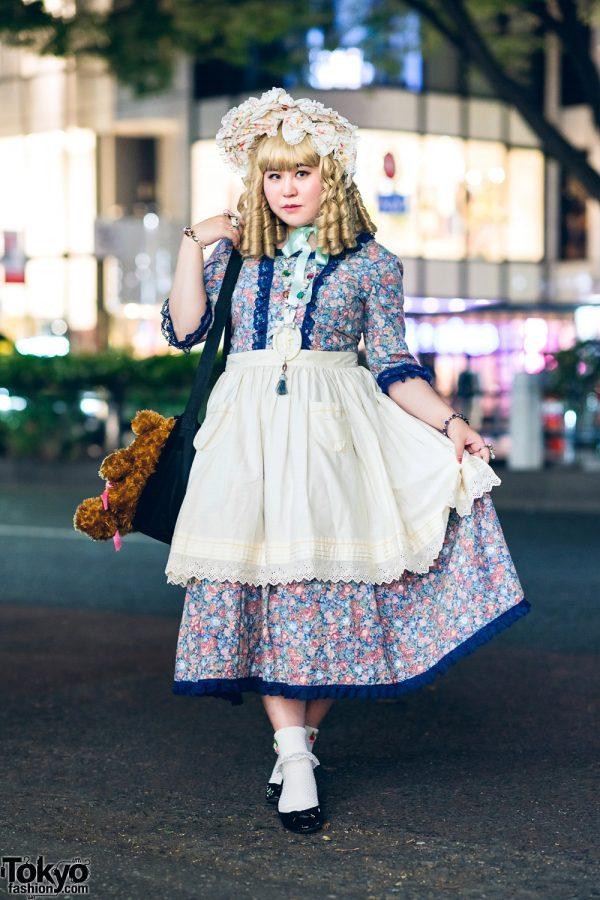 Harajuku Street Style w/ Blonde Ringlets, Bow Headdress, Floral Print Dress, Apron Skirt, Satsuski Amamiya Bear Bag, Millna, Cold Sleep & GU Ballerina Flats