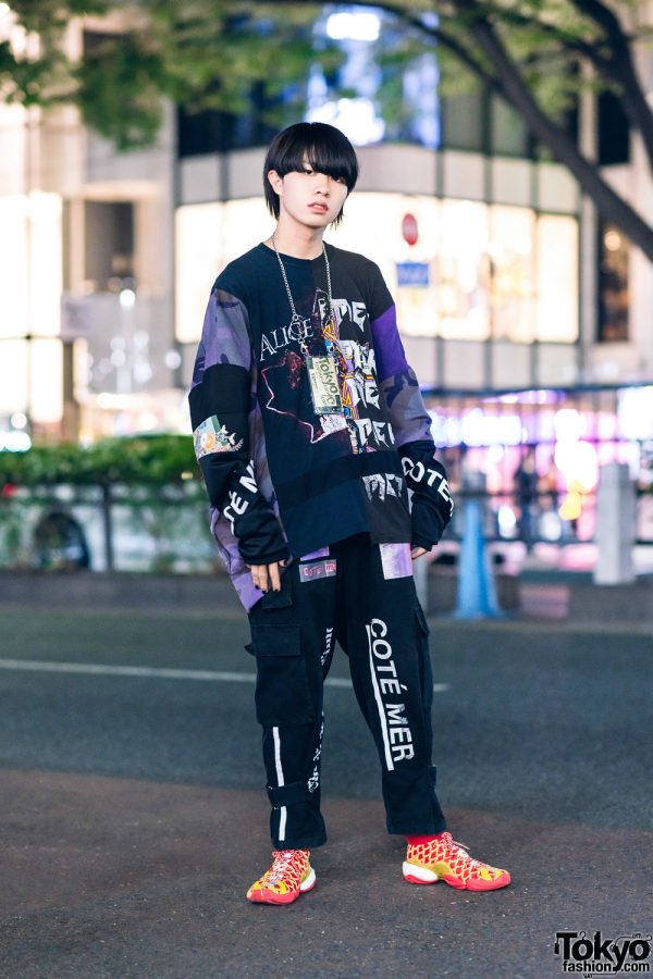 Japanese Teen Model in Cote Mer Graphic Print Streetwear Style w/ Blunt Bob, Mobile Chain Necklace & Adidas x Pharrel Williams Chinese New Year Sneakers