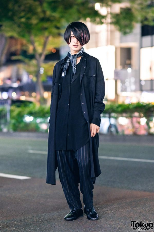 All Black Zara Menswear Look in Harajuku w/ Neck Scarf, Layered Tops, Pinstripe Pants, The Ginza Toe & Leather Loafers