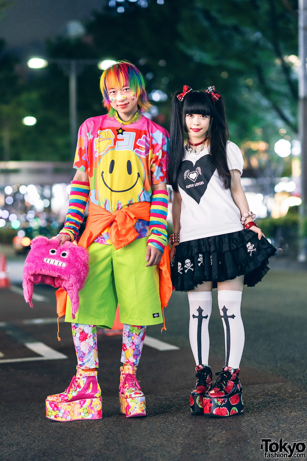 Harajuku Kawaii & Gothic Street Styles w/ Rainbow Hair, Fuzzy Monster Hat, Super Lovers, 6%DokiDoki & ACDC Rag Platform Sneakers
