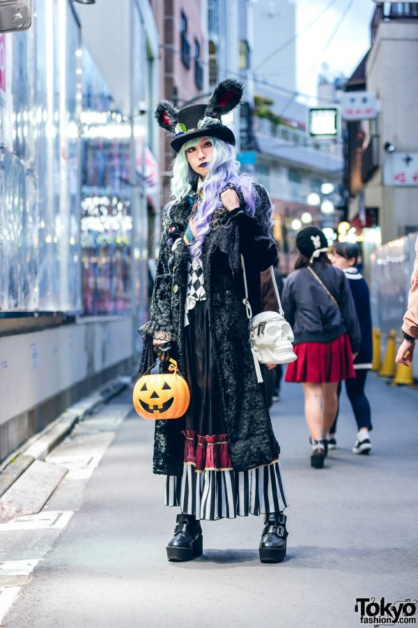 Gothic Halloween Street Style w/ Pastel Half Color Hair, Bunny Ears Top Hat, Red Contacts, Pumpkin Bag, Killstar Skull Bag, Kiki-Rara Shoten, Sheglit & Dangerous Nude