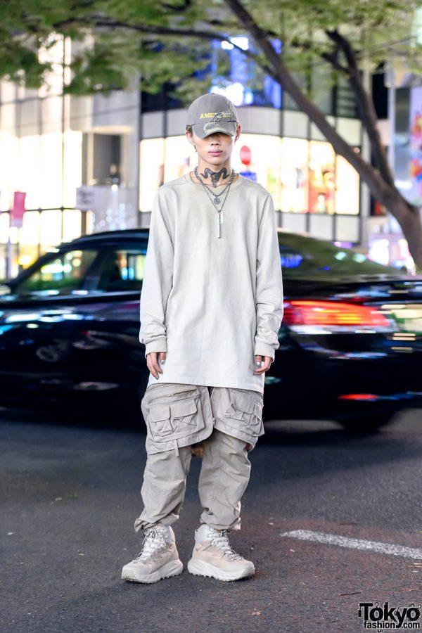 Light Gray Harajuku Street Style w/ Rick Owens, Vintage, Hoka One One & 99%is-