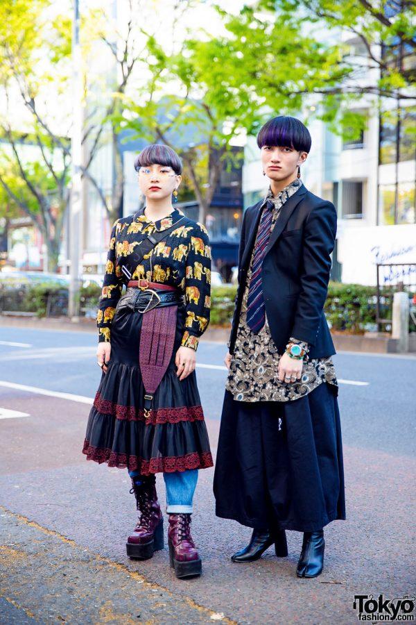 Tokyo Streetwear Styles w/ Purple Hair, Elephant Print Shirt, Paisley Shirt, The Mondays, Notch, Marc Jacobs, Yosuke & Bella By Bella Tabi Boots