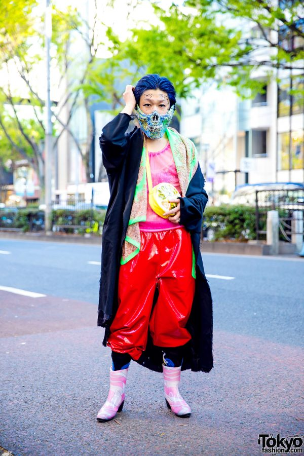 Tokyo Deconstructed Street Style w/ Blue Hair, Jeweled Mask, Sulvam Coat, Sheer Organza Top, Patent Pants & Rain Boots