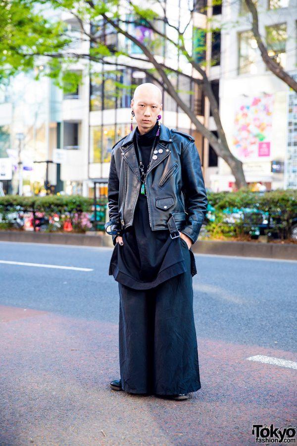 Japanese Model & Musician in Rock Star Inspired Look w/ Vintage Leather Jacket, Keisuke Yoneda, Kujaku, YSL, Lucky Daikichi & Nyulycadelic