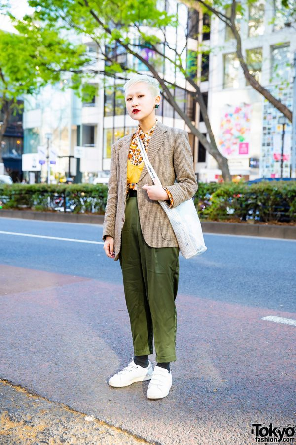 Retro Vintage Street Style in Harajuku w/ Shaved Hairstyle, Textured Coat, Bralette, Satin Pants, Beautiful People Tote & Adidas Sneakers