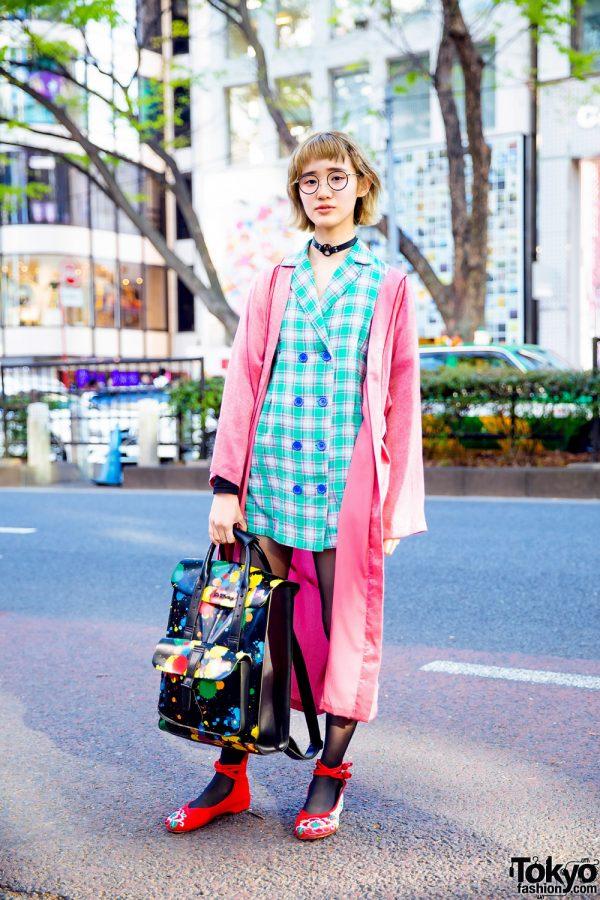 Harajuku Streetwear Style w/ Candy Stripper Choker, Jouetie Robe, Nadia, Paint-Splattered Satchel & Dr. Martens