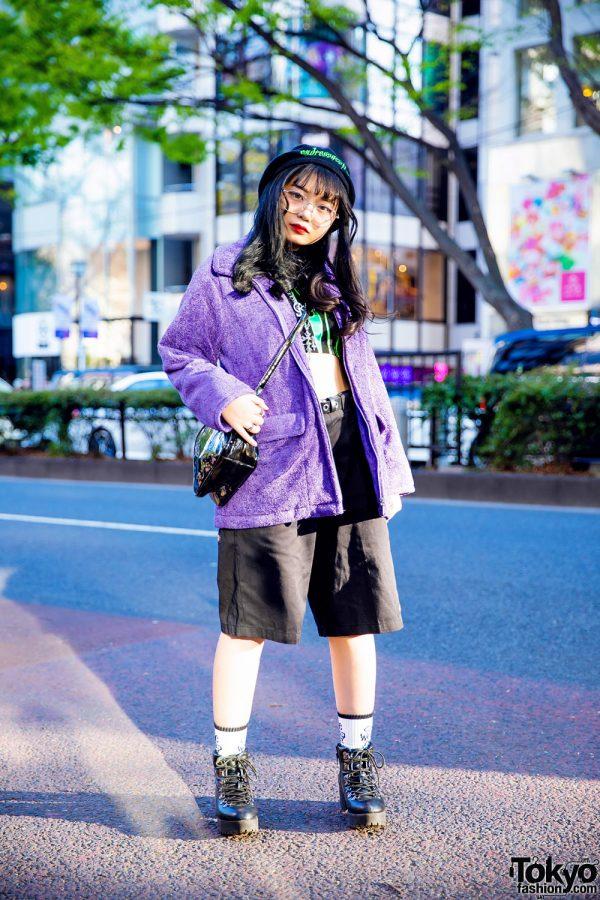 Harajuku Streetwear Style w/ Fig & Viper Crop Top, Black Beret, Purple Jacket & Black Boots