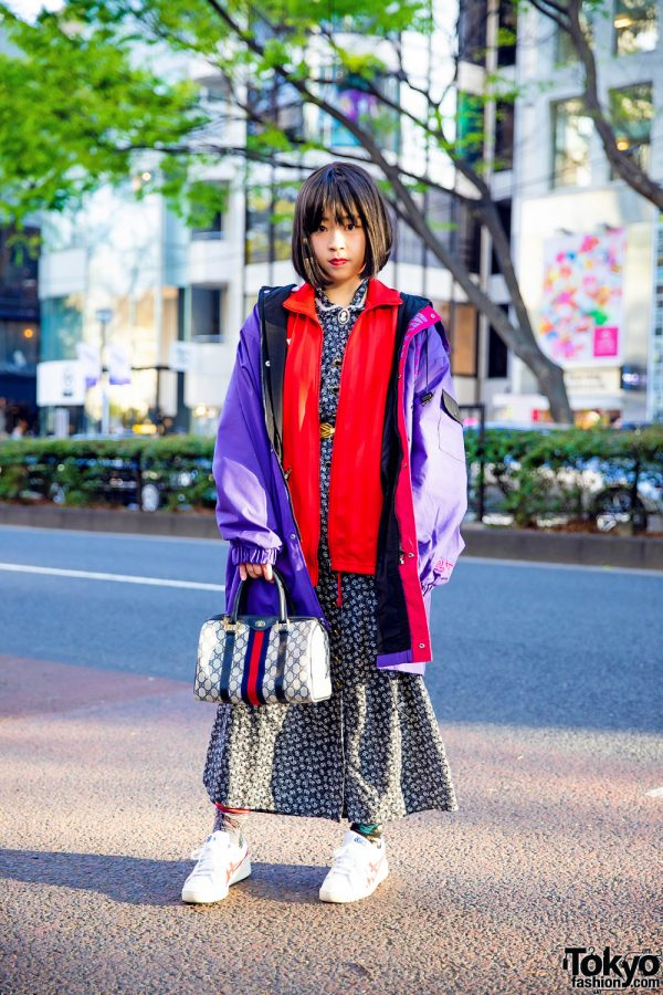 Tokyo Vintage Street Style w/ Layered Jackets, Floral Print Dress, Puma, Gucci & Onitsuka Tiger