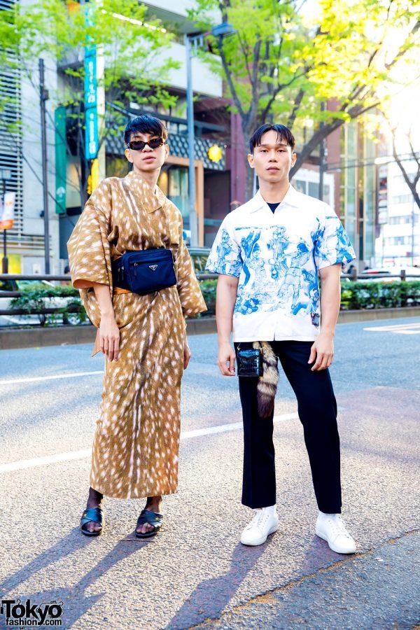 Tokyo Street Styles w/ Tortoiseshell Sunglasses, Animal Print Kimono, LV Sheer Stockings, Prada Bag, Leather Slides & Sneakers
