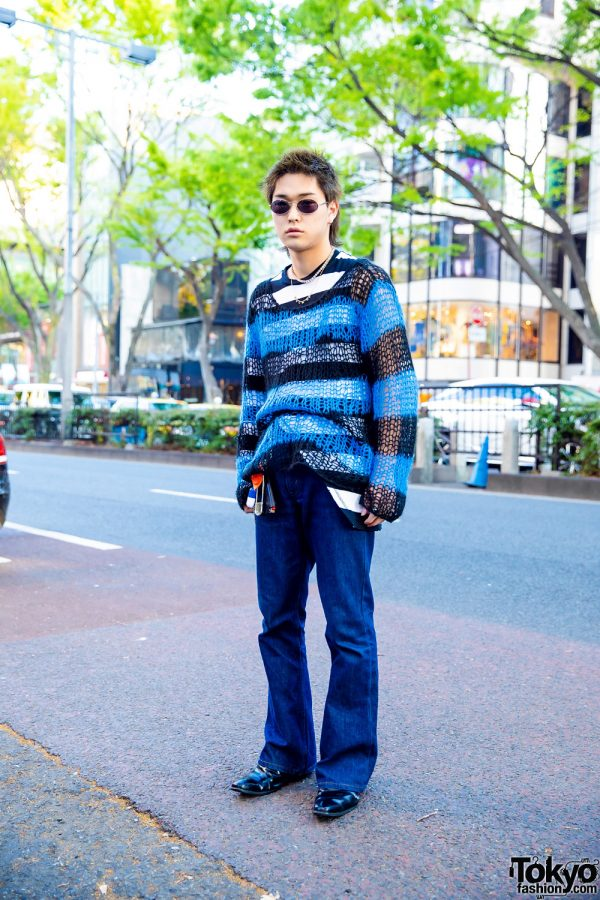 Casual Blue Streetwear Style in Harajuku w/ Spiky Hair, Labrat Necklace, Number (N)ine, Levi's & Leather Loafers