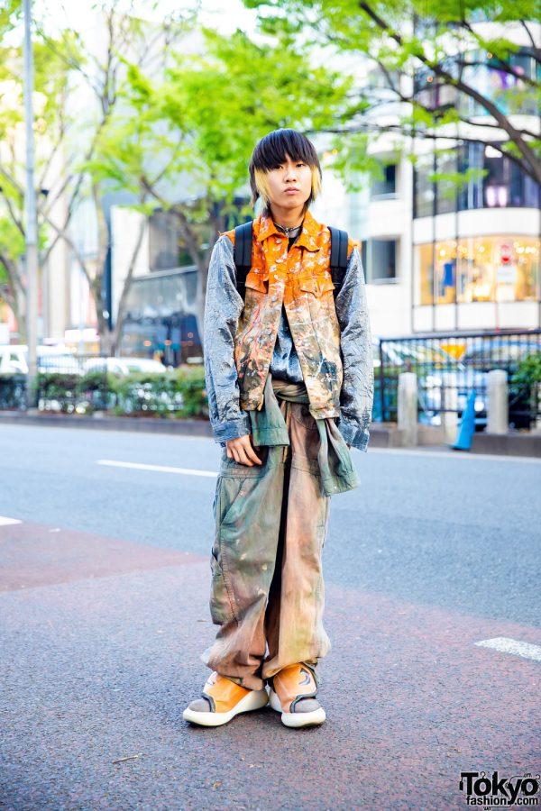 Tokyo Vintage Streetwear Style w/ Paint Splatter Vest, Spray Painted Jeans, Guess, W&LT, Florida, Nike & Swear