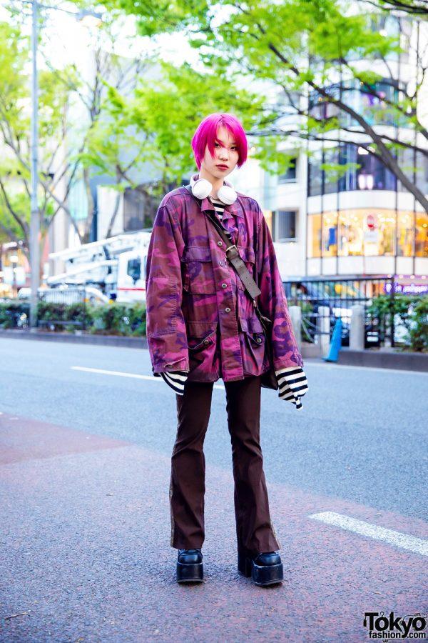 Harajuku Girl Street Style w/ Pink Hair, Pink Camouflage Top, Faith Tokyo Striped Shirt, Pinnap Pants, 8(eight) Bag & Demonia Boots