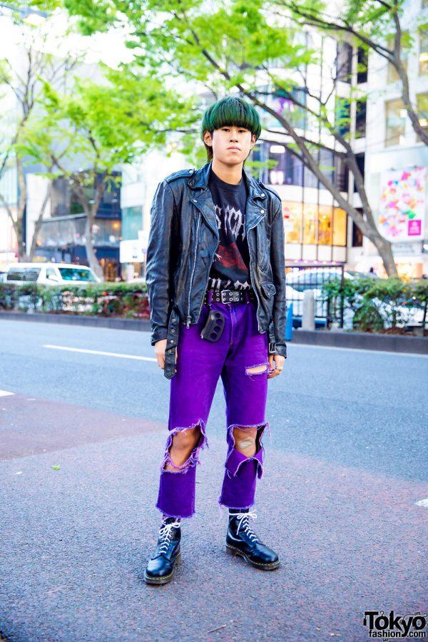 Green Hair & Purple Pants Harajuku Punk Rock Street Style w/ Vintage Leather Jacket, John Lawrence Sullivan, Custom Uniqlo, Dr. Martens & Blackmeans