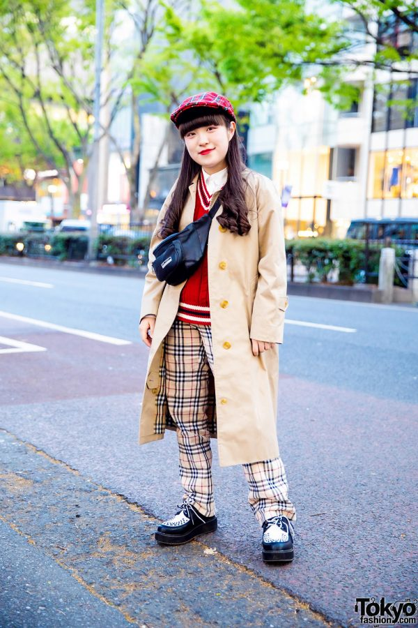 Harajuku Plaid Street Style w/ Burberry, Pink House, RRR Vintage & Yosuke