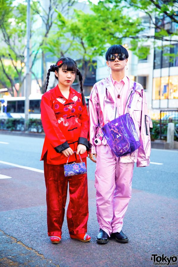 Red & Pink Tokyo Street Styles w/ Twin Braids, Nadia, Romantic Standard, BXT Metallic Jacket & Mocha Embroidered Shoes