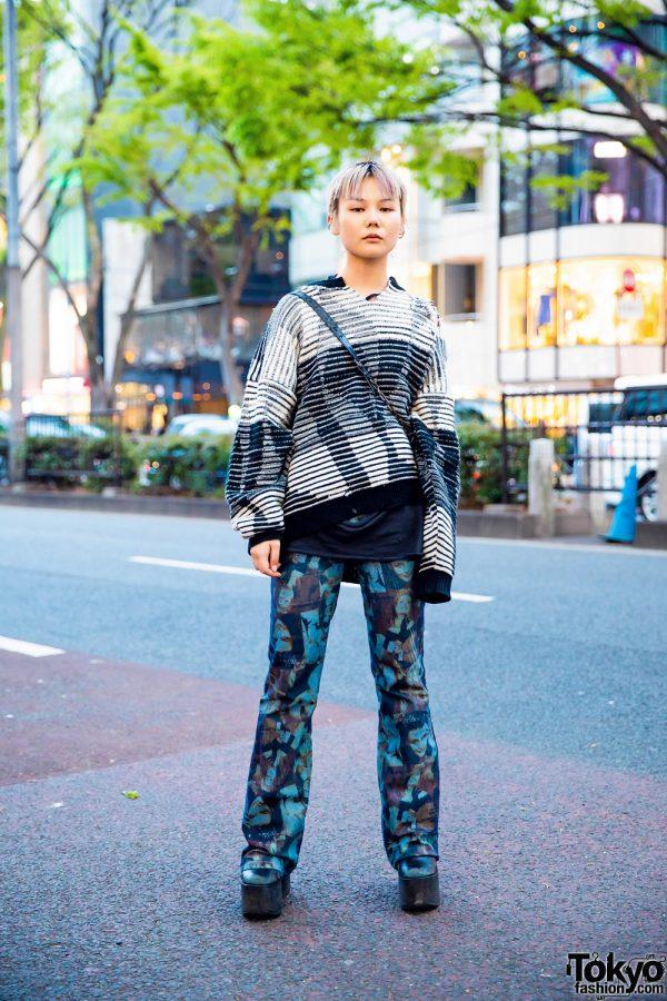 Blonde Pixie Cut, Ripped Sweater, Face Print Pants, Vivienne Westwood Sling & Tokyo Bopper Platforms