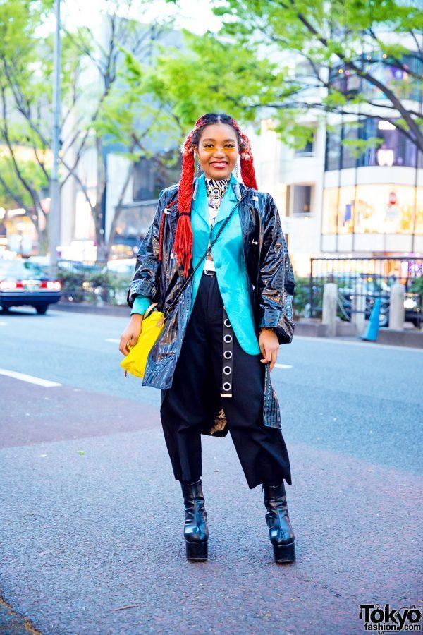 Tokyo Streetwear Style w/ Red Twin Braids, Gallerie Vinyl Coat, Aqua Blazer, Coach Sling Bag, Vanessa Naomi Jewelry & Platform Boots