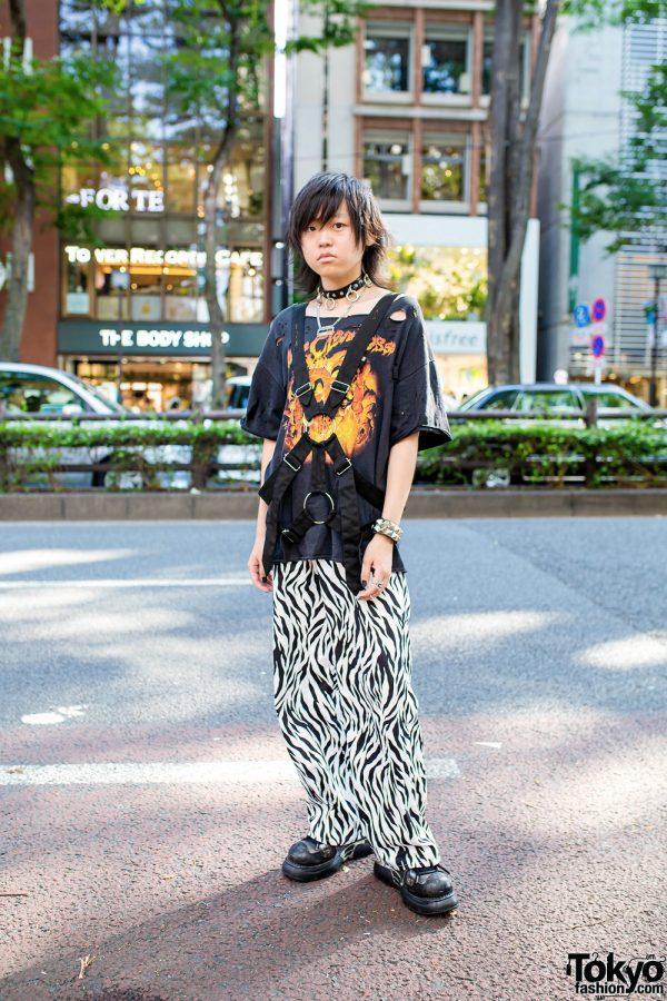 Japanese Streetwear Style w/ O-Ring Choker, Razor Blade Necklace, Ripped Dragon Print Shirt, Handmade Zebra Print Pants, Tokyo Human Experiments & New Rock Chunky Shoes