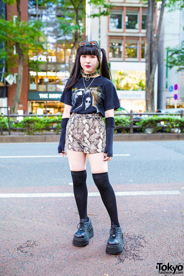 Harajuku Girl Streetwear Look w/ Twin Tails, Rob Zombie Shirt, Snakeskin Shorts, Never Mind the XU & Demonia