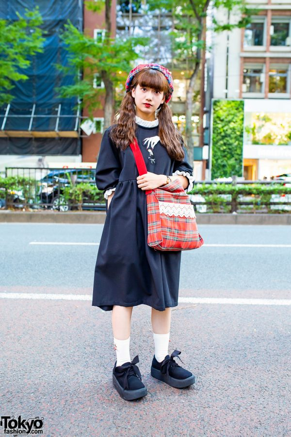 HEIHEI Streetwear Style in Tokyo w/ Twin Tails, Plaid Beret, Babydoll Dress, Milk Plaid Bag & Tokyo Bopper Bow Shoes