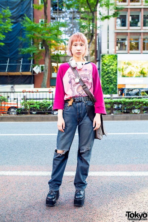 Harajuku Street Style w/ Peach Hair, Vivienne Westwood Flask Necklace, Raglan Shirt, Ripped Jeans, 8(eight) & Demonia Platforms