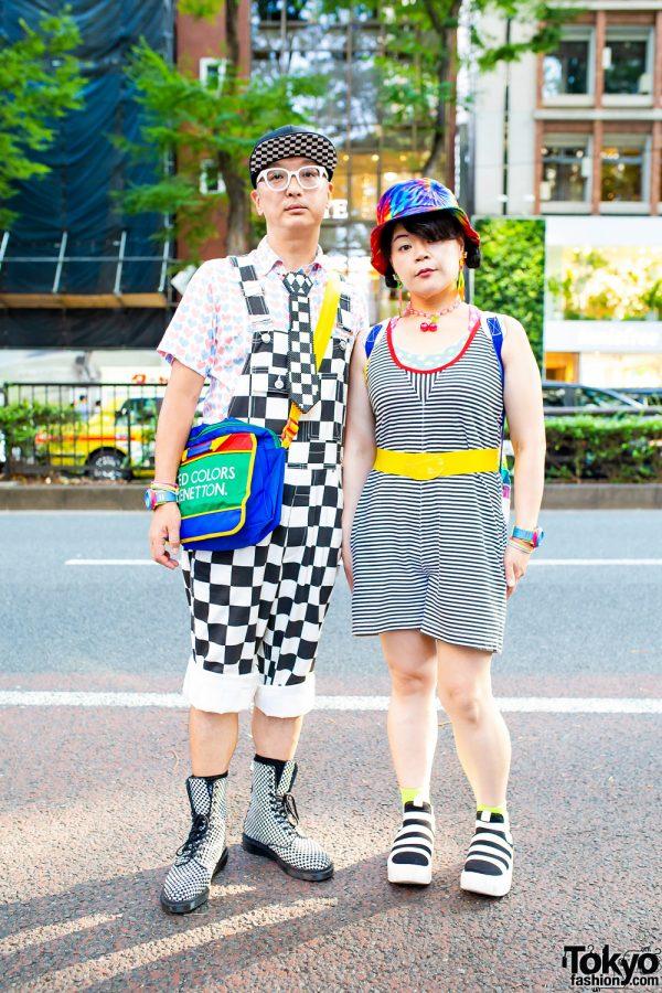 Mixed Prints Fashion in Tokyo w/ Pixel Bead Necktie, Joyrich Overalls, Kinsella Romper, 6%DokiDoki, Colorblock Bag, Dr. Martens & Tokyo Bopper
