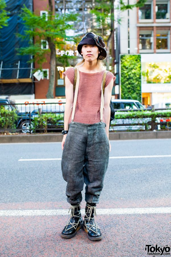 Tokyo Vintage Style w/ Crochet Top, Suspenders, Patchwork Hat & Rick Owens Boots