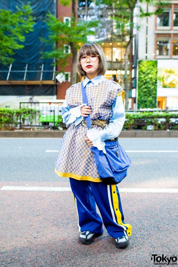 Streetwear Style in Harajuku w/ Fringed Bob, Ne-Net Smock Dress, Nike Track Pants, Vintage Bag & Urban Rider Sneakers