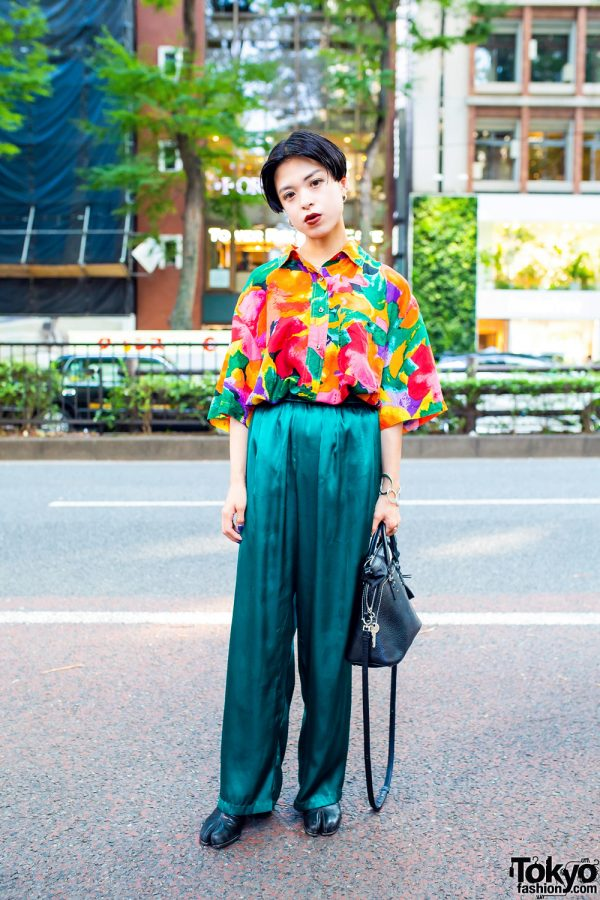 Vintage Streetwear Style w/ Short Bob, Floral Shirt, Satin Pants, Silver Jewelry and Maison Margiela