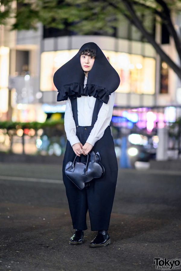 Comme Des Garcons Japanese Street Style in Harajuku w/ Headpiece, Rabbit Bag, Balloon Pants & CDG x Dr. Martens