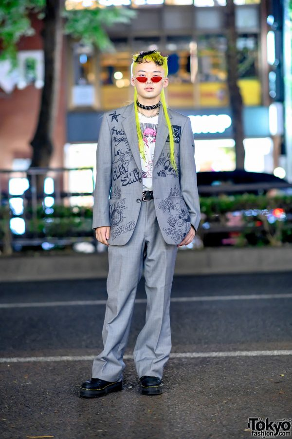 Remake Suit Style in Tokyo w/ Yellow Hair, Cat Eye Sunglasses, Graffiti Print Suit, Kobinai, Never Mind the XU & Dr. Martens Boots