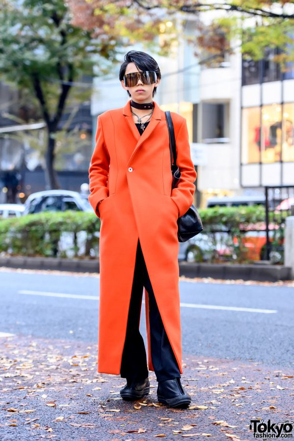 Asymmetrical Maxi Coat Street Style in Tokyo w/ S.A.W. Coat, Rick Owens Sunglasses & Human Experiments Necklace