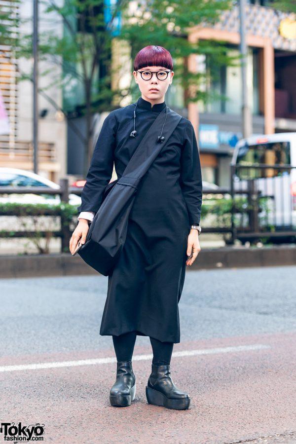 All Black Japanese Minimalist Street Style w/ Short Purple Hair, Comme des Garcons Dress, Crossbody Bag & Dr. Martens Platform Boots
