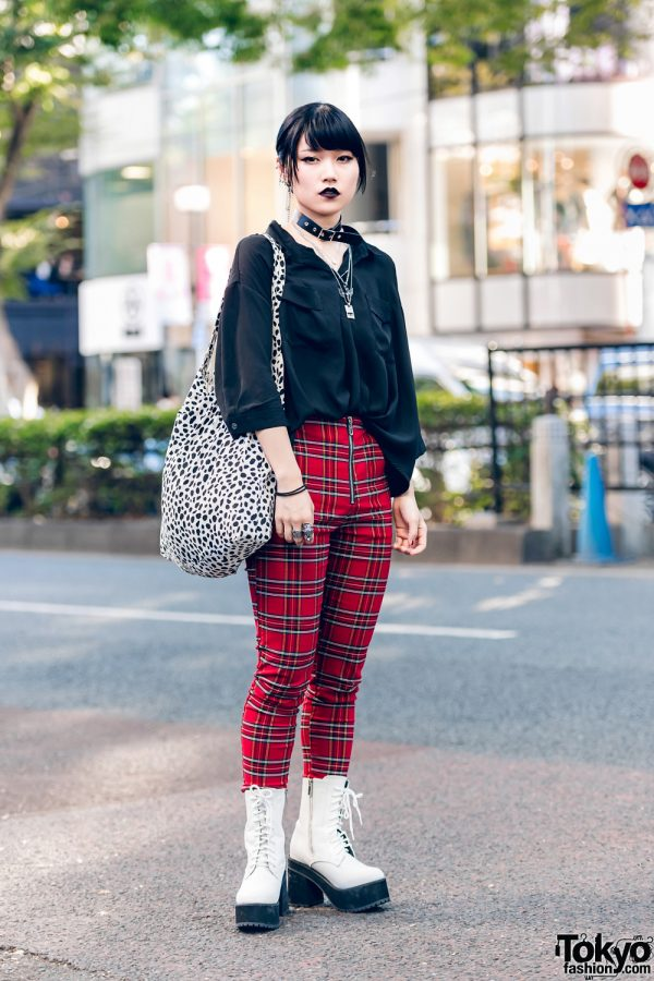 Harajuku Red & Black Style w/ Black Lipstick, Belted Choker, Zara Plaid Pants, Gucci & WEGO
