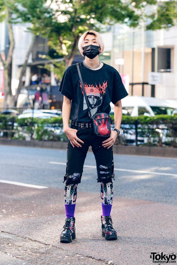 Remake Tokyo Street Style w/ Face Mask, Shaka Bose Tee, Joker Tights, Handprint Bag & Yosuke Floral Boots