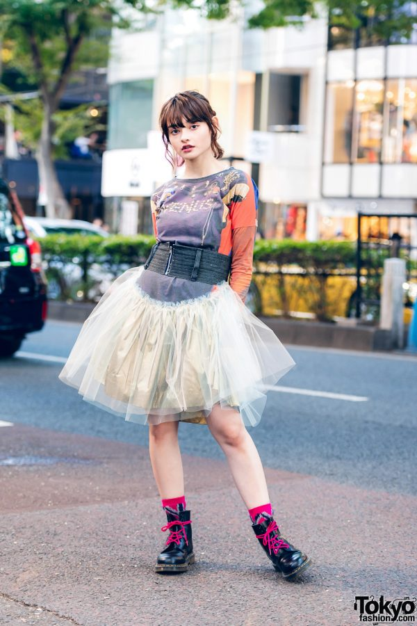 Vivienne Westwood Red Label Streetwear Style w/ Venus Sweater Dress, Tulle Skirt, Hermes, Tokyo Human Experiments Rings & Dr. Martens Boots