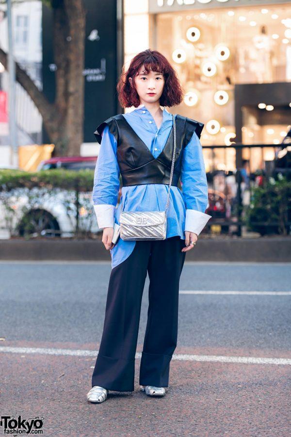 Minimalist Tokyo Street Style w/ Curly Bob, Cropped Leather Vest, Sea New York Pants, Versace Ring, Balenciaga Bag & Church's Slip-Ons