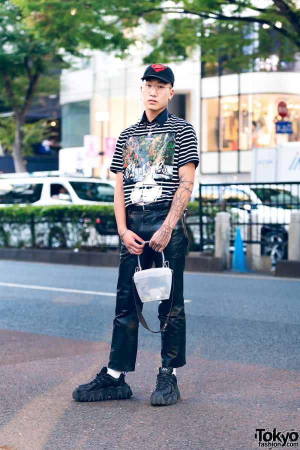Tokyo Streetwear w/ Heart Cap, J.W. Anderson, Leather Pants, Palm Angels Jelly Bag & Eytys Chunky Sneakers