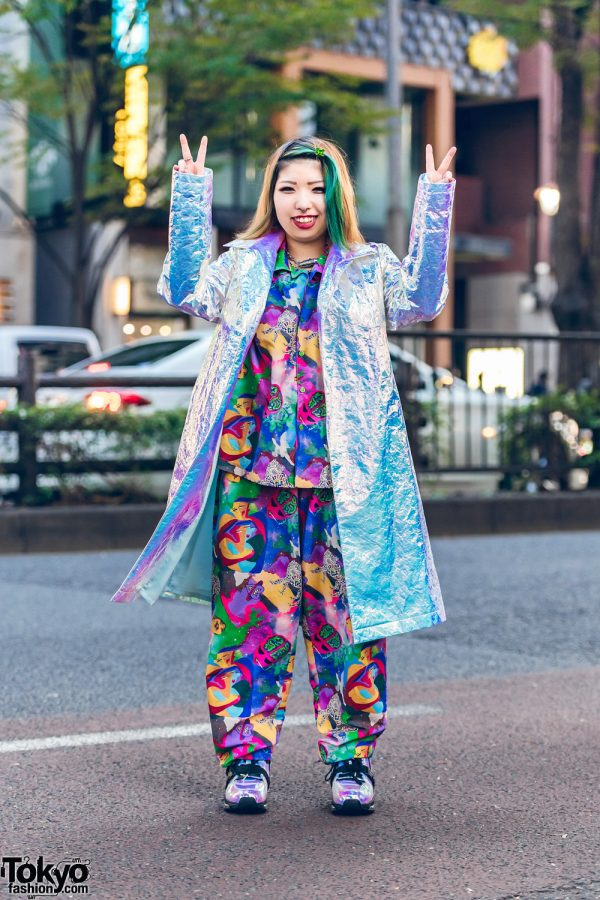 Harajuku Street Style w/ Crinkled Silver Metallic Coat, Kobinai Colorful Printed Set & YRU Iridescent Sneakers