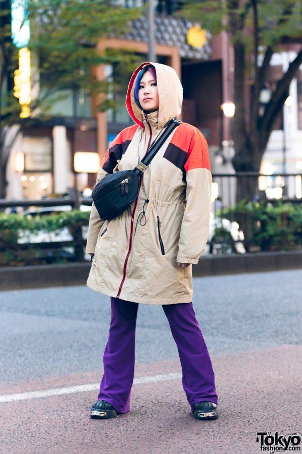 Tokyo Streetwear Style w/ Dog Harajuku Tan Hooded Jacket, Gucci Bag, New Rock Shoes, Two-Tone Hair, Purple Pants & Beat X