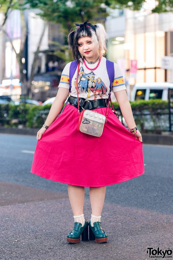 Harajuku Style w/ Half-Colored Hair, Bow Headband, Batman Vintage Tee, Thank You Mart Backpack & Sinz Radio Bag