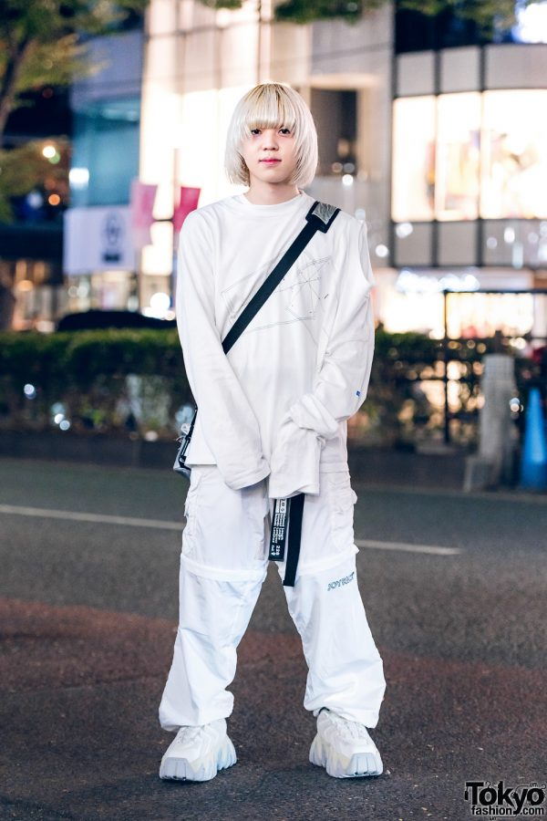 All White Japanese Streetwear  w/  Kudos Sweatshirt, Joyrich Convertible Pants, Oakley Bag & Eytys Chunky Sneakers