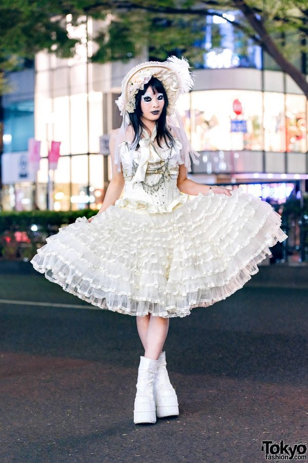 Heiligtum Designer's Street Fashion w/ Black Makeup, Ruffle Bonnet, Alice Auaa Harness, Vintage Corset Dress & Platform Glitter Boots