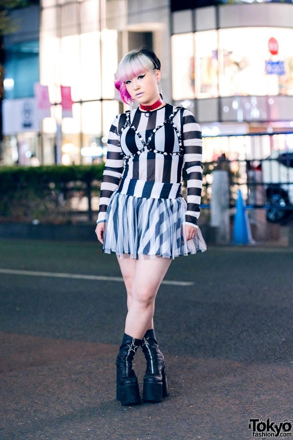 Japanese Singer/Songwriter in Monochrome Street Style w/ Pink-Tipped Updo, Bra Harness, Dolls Kill Striped Top, Tulle Skirt & Platform Glitter Boots