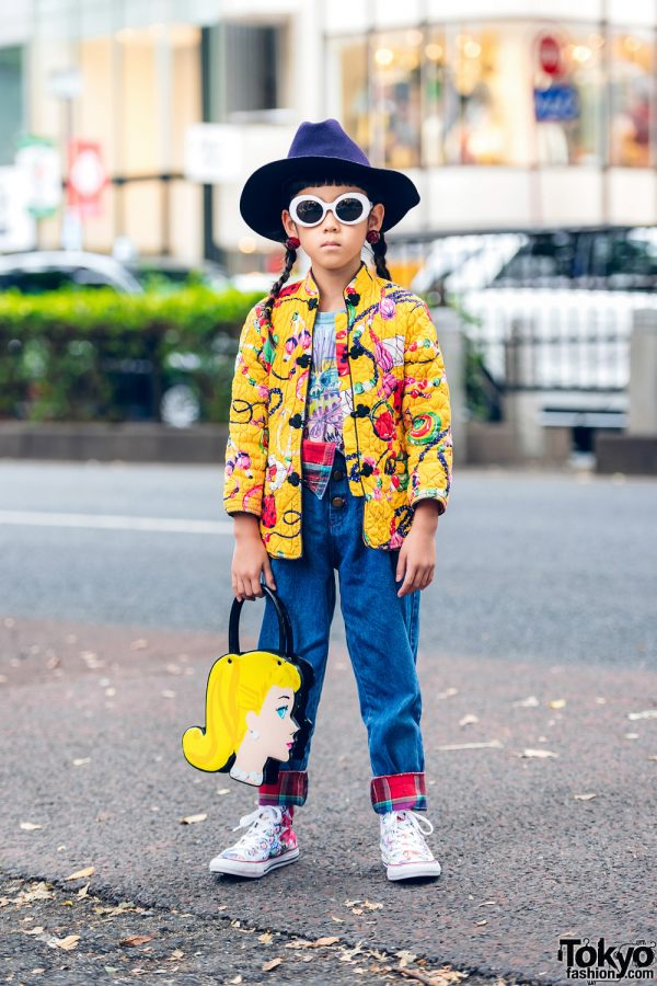Vintage Japanese Kids Street Fashion in Harajuku w/ Honey Supply Quilted Jacket, Please And Thank You Store, Tahlia Store & Painted Canvas Sneakers