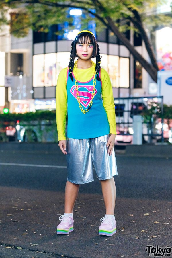 Harajuku Colorful Street Style in Harajuku w/ Twin Braids, Nike Superman Tank Top, ACDC Rag Metallic Shorts, Sevens & WC Rainbow Sneakers