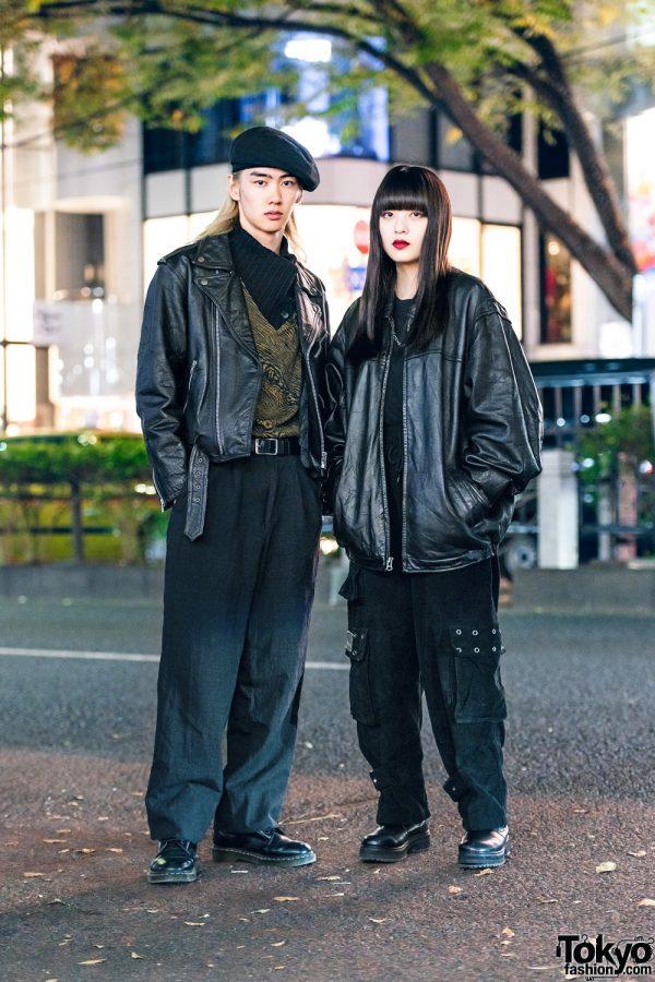 All Black Tokyo Duo Streetwear Styles w/ Beret, Motorcycle Jacket, Bomber Jacket, Calvin Klein, MYOB NYC, GU, Never Mind the XU & Dr. Martens