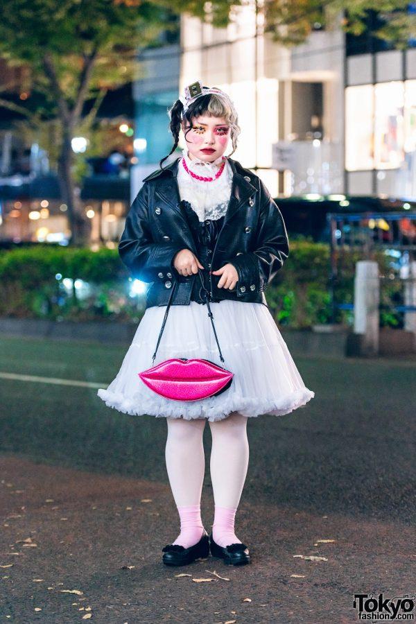 Harajuku Street Style w/ Half Color Hair, Cassette Tape Headpiece, Leather Jacket, Corset, Tutu Dress, Sinz Lips Handbag & Bow Flats